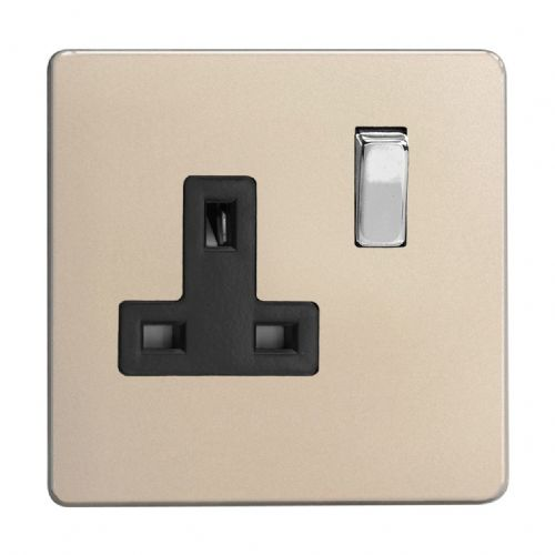 Varilight XDN4BS Screwless Satin Chrome 1 Gang 13A DP Single Switched Plug Socket